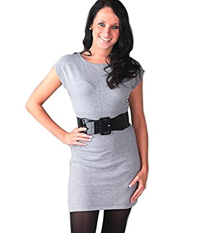 Lora Dora Womens Knitted Jumper Dress + Belt Grey One Size