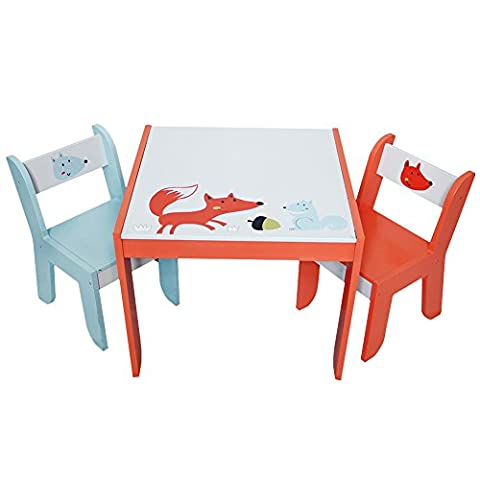 Labebe Children Wooden Furniture Activity Table and Chair Set for 1-5 years Old, Use for Painting/Reading/Group Play in Classroom and Home, Creative Birthday Gift for Toddlers- White Fox