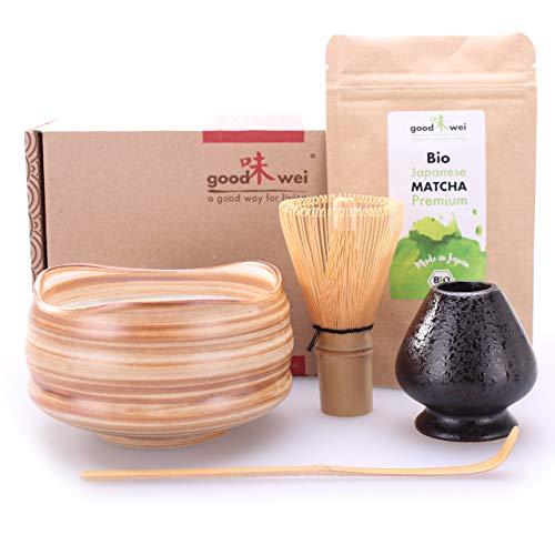 Teezeremonie-Set mit hochwertiger Matcha-Schale und echtem Bio Matcha aus Japan (Mokuzai)