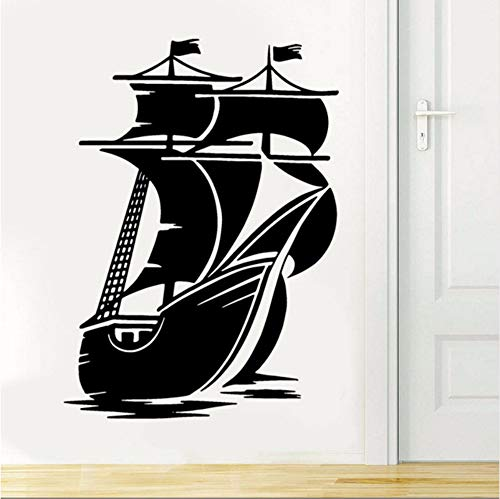 Mrhxly Nautical Home Decor Vintage Piraten Schiff Segelboot Vinyl Aufkleber Innendekoration Wohnzimmer Klebstoff Tapeten Wandbilder 57 * 79 Cm