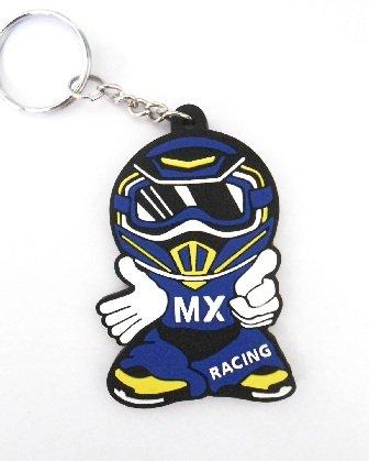 Llavero MX Rider de goma, colores azul y amarillo, estilo motero, motocross, automovilista, también ideal para mochilas, bolsos, carteras o maletines