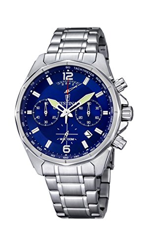 Festina Men's Quartz Watch with Blue Dial Chronograph Display and Silver Stainless Steel Bracelet F6835/3