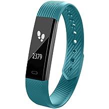 Pulsera inteligente deportiva Yitpro pulsera pasos,calorías,distancia,alerta de llamadas y notificaciones,cronómetro,alarma,reloj,Bluetooth 4.0,actividad,ajustable mujer,hombre y niños (Verde)
