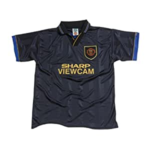 Score Draw Official Retro Manchester United 1994 Away Men's Football Shirt - Black, Small