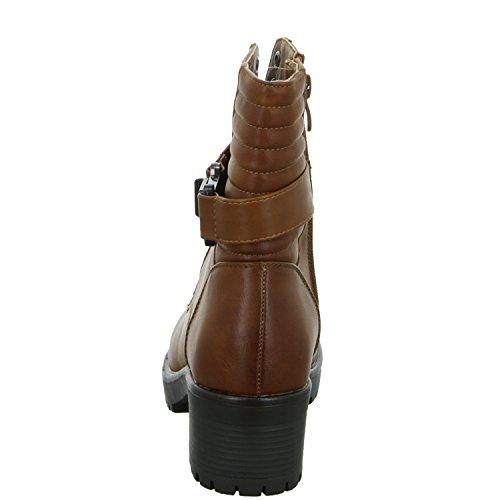SDS 684-PA Damen Schnürstiefelette Warmfutter eleganter Boden Braun (Braun)