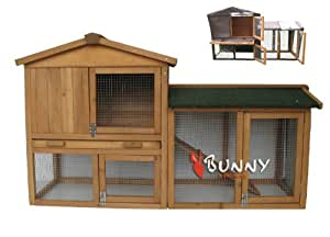 BUNNY BUSINESS The Grove Double Decker Rabbit/ Guinea Pig Hutch and Run with Cover, Brown