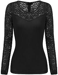 79330dab0b5917 Parabler Damen Langarmshirt Spitzenshirt T-Shirt mit Spitze Top Bluse Shirt  Tunika Hemd