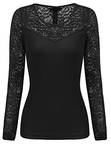 Parabler Damen Langarmshirt Spitzenshirt T-Shirt mit Spitze Top Bluse Shirt  Tunika Hemd (EU 77d45c207b