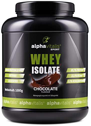 Whey Protein Isolate Schoko - H²O-optimiert - 85,7% Protein! - Zuckerfrei - Fettfrei - 1000g - WPI ohne Aspartam oder Cyclamat EINWEG