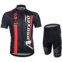 shengbaohang estate maglia ciclismo da uomo a maniche corte Top Racing Team Pantaloncini ciclismo Top + Bavaglino SET19, Strapless, M