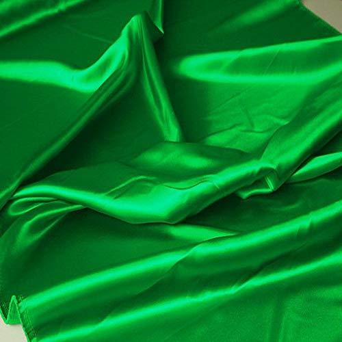 TOLKO Glanz Satin Modestoff/Deko-Stoff/Kostümstoff als Meterware am Stück (Smaragd Grün)