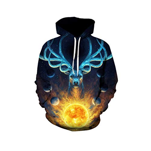 Luxuon 3D Sweat à Capuche,Unisex Prints Hoodie Sweatshirt,Funny Drawstring Wapiti Patterned Multicolore Pullover Poches M-XXXXL