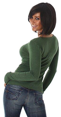 Luxestar Damen Pullover einfarbig Einheitsgröße (32-38) Grün