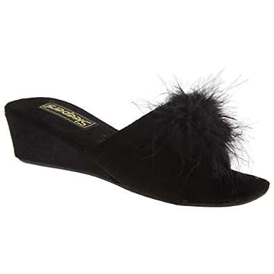 sleepers anne damen hausschuhe pantoffeln mit schmuckstein flauschigem bommel und absatz. Black Bedroom Furniture Sets. Home Design Ideas