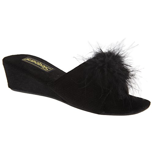 Femme Noir Mules Anne Chaussons Sleepers xTwt1aHt