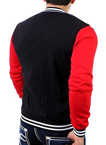 Reslad College Jacke Herren Oldschool Authentic Baseball-Jacke | kontrastfarbene Ärmel | Moderne Sportjacke RS-1150 Schwarz-Rot