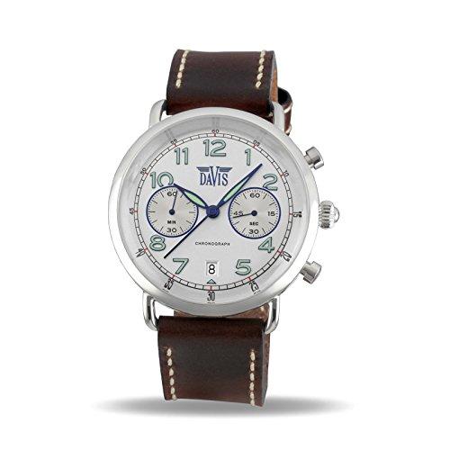 2922aab66bf0 Davis 2122 – Reloj piloto hombre cronógrafo retro reloj gris pulsera piel  marrón