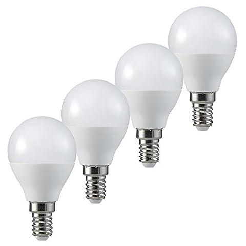 MÜLLER-LICHT 400259_Set A+, 4er-Set LED Tropfenform ersetzt 40 W, Plastik, 5.5 W, E14, weiß, 4.5 x 4.5 x 8 cm