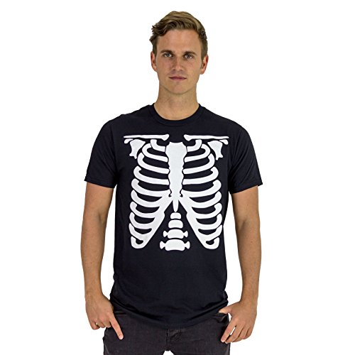 NEU - Schwarz Skelett - Herren T-Shirt - Top Qualität - Skeleton Halloween Horror (Medium) (Halloween Cellophan)