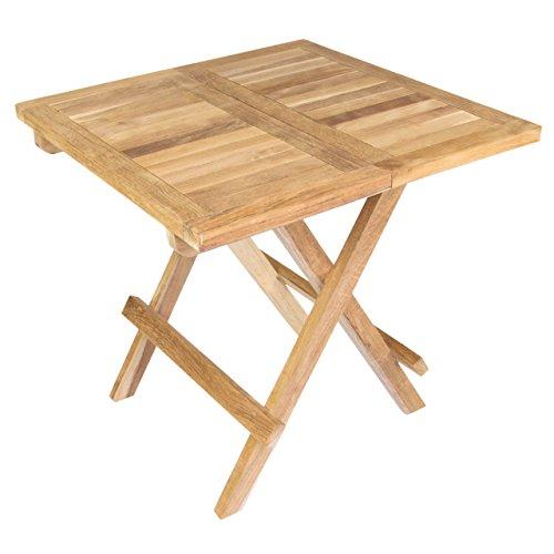 Divero Kindertisch Beistelltisch Balkontisch Teak Holz Tisch für Terrasse Balkon Garten – wetterfest klappbar unbehandelt – 50 x 50 cm Natur-braun