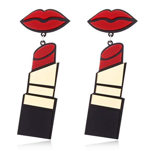 Lips Lippenstift (Guoyy Acryl Ohrringe Frauen Schmuck Lip Lippenstift Punk Style Baumeln Mode Lange Tropfen)