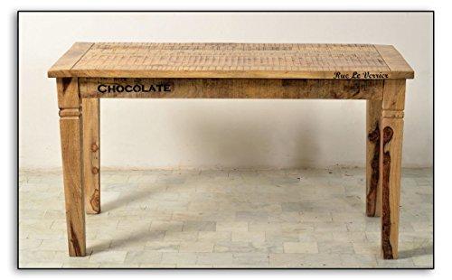 e tisch mango Ess-Tisch aus massivem Mango-Holz 140x70cm Antik-Finish recht-eckig | Crust | Antiker Küchen-Tisch aus Massiv-Holz mit starken Gebrauchsspuren 140cm x 70cm | Vierfußtisch für Ihr Ess-Zimmer