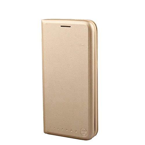 Nouske Lederklapphülle Tasche für Samsung Galaxy S7 Edge Schutzhülle handgefertigt geschwungene Kanten mit Aufsteller und Kartenfach TPU Cover Hülle Gold.