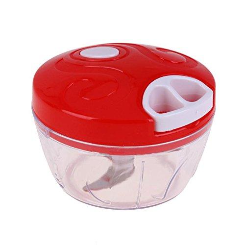Alwayswe Manueller Lebensmittelzerkleinerer Haushalt Gemüsezerkleinerer Multifunktion Lebensmittelmaschine Fleischmaschine Zerkleinerer Mixer rot