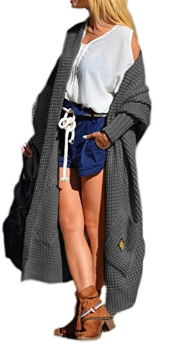 Damen Strickjacke Pullover Cardigan Langarm Oversize 36 38 40 S M L (658) (Graphite)
