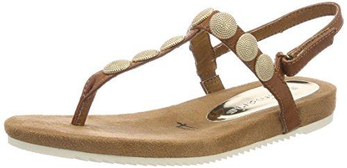 Tamaris Damen 28168 Slingback Sandalen, Braun (Cognac), 37 EU (Sandalen Große Füße)