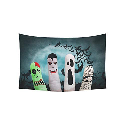 Indische Kostüm Zombie - Wandteppich bemalt Finger Monster Halloween Zombie Vampire Wandteppiche Wandbehang Blume psychedelischen Wandteppich Wandbehang indischen Wohnheim Dekor für Wohnzimmer Schlafzimmer 60 X 40 Zoll