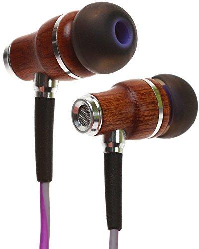 Auriculares Symphonized NRG 3.0 | Auriculares de Madera con Aislamiento de Ruido con micrófono y Control de Volumen (Púrpuro y Gris Brumoso)