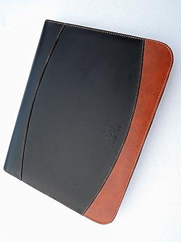 MASTER-LEVEL Schreibmappe / Businessmappe DIN A4 mit Reißverschluss in braun-schwarz