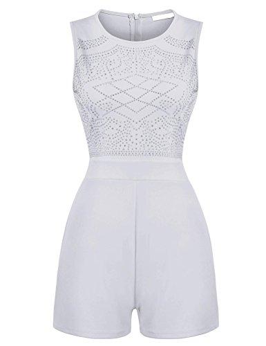 ZEARO Damen Kurz Overall Catsuit Jumpsuit Weiß