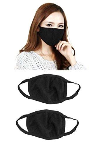 JMD Helmets Cotton Half Face Mask Dust Protection Anti Pollution with Air Filter (Black, Free Size)