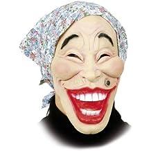 Hexen-Maske: alte Frau mit blauem Kopftuch, Latex, für Erwachsene