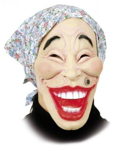 Hexen-Maske: alte Frau mit blauem Kopftuch, Latex, für Erwachsene (Alte Maske Frau)