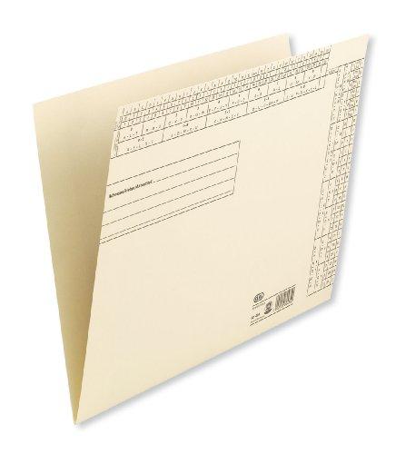 ELBA 100091739 Einstellmappe 50er Pack aus Kraft-Karton mit Lochung für Flachheftzungen und Heftstreifen chamois