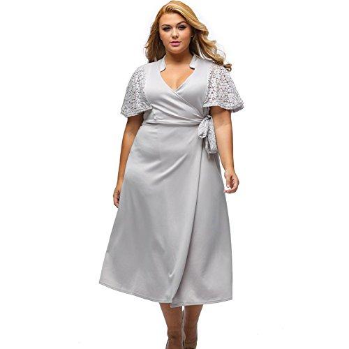 Yueyuefa Robe en mousseline de soie pour femme Grey
