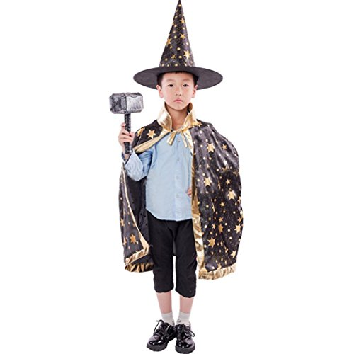 HLHN Halloween Party Umhang, Hexe Satin Karneval Fasching Kostüm Umhang Kap Robe und Hut für Kinder (Schwarzb)