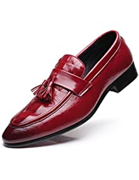 HUAN Zapatos de Hombre PU Spring Comfort Mocasines Casual Fashion Walking Shoes Black Red Wedding Office & Career