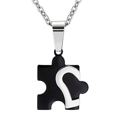 BeyDoDo Edelstahl Anhänger Halskette Damen Paare Liebe Set Puzzle Herz Kette Schwarz (Zucker Tasche Von Kostüm Baby)