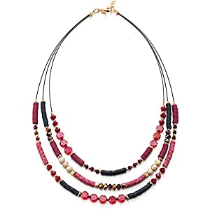 COOLSTEELANDBEYOND Statement Halskette Anhänger DREI Reihen Rot Kristall Bunte Wulst Bettelarmband mit Charme Partei Abendkleid