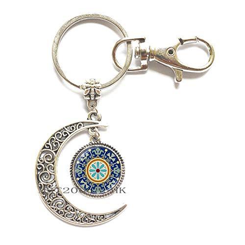 Llavero con diseño de flor de la vida, mandala, símbolo espiritual de la vida, llavero con símbolo antiguo MT015
