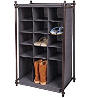 Gr8 Home Portable 5 Tier 15 Grid Pairs Rack Shelf Shoes Storage Closet Trainers Boots Organiser Cabinet Stand, Metal, Fabric, Grey, 105 x 60 x 40 cm