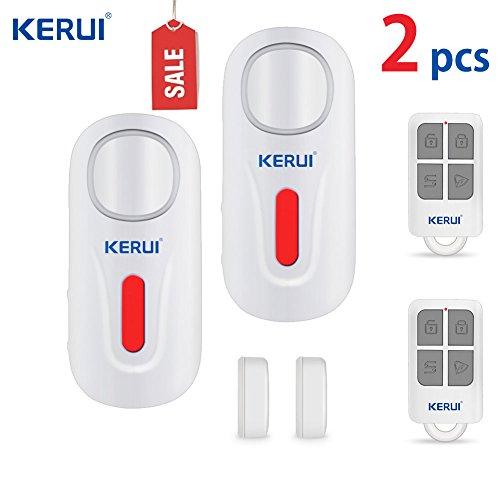 Allarme per porta e finestra, Kerui wireless intelligente entrata sensore antifurto per casa e ufficio sicurezza facile da installare con telecomando e senza batteria (D2, confezione da 2, bianco Kerui)