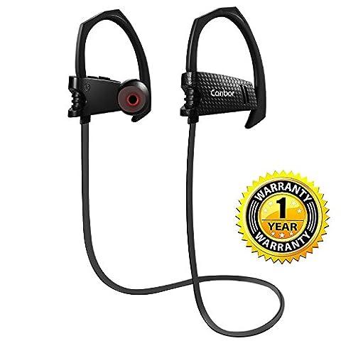 Canbor Écouteurs Bluetooth,Oreillette sans Fil Bluetooth 4.1 avec Mic Casque Sportif Stéréo,Oreillette Anti-bruit,Headphones IPX5 Étanche
