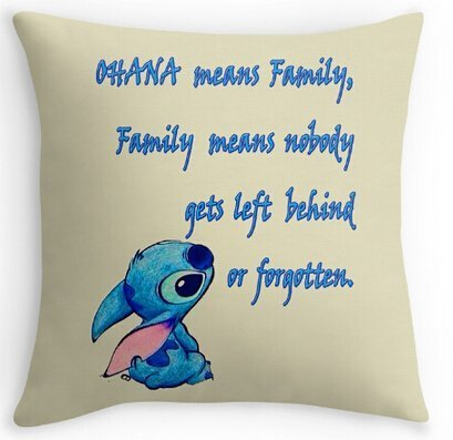 rongxincailiaoke Kissenbezüge Unique Style Lilo Stitch Ohana Family Quote Soft Cartoon Cool Cover Two Size Suitbale Pillowcase Cover 18x18 Inch