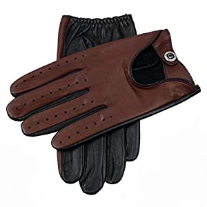 Dents Woburn Leather Driving Gloves Contrast Black/English Tan Heritage Collection Large