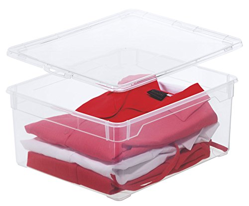 Rotho Aufbewahrungsbox Clear Box Sweater 18 L Deckel - QR-Code AppMyBox - 18 L. Volumen - (LxBxH)...